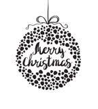 Black sketch greeting Christmas ball Stock Photo
