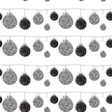 Black sketch greeting Christmas pattern Stock Photography