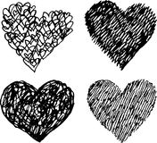 Black sketched vector hearts set Stock Photography