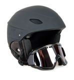 Black ski helmet with goggles Stock Photos