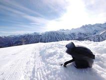 Black ski helmet slope Royalty Free Stock Photo