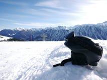 Black ski helmet slope Royalty Free Stock Photography