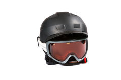 Black ski and snowboard helmet and glasses Royalty Free Stock Image