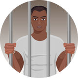 Black skin man behind bars in round button isolated Royalty Free Stock Photography