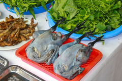 Black skinned chickens for sale at a Vietnamese market. Black skinned chickens are a delicacy in Vietnam and here are a couple for sale at a small market Royalty Free Stock Photography