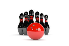 Black skittles with red bowling ball. 3D illustration of ten pins / skittles with red bowling ball Stock Photos