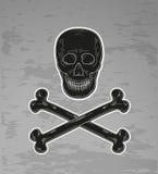 Black skull and bones Stock Photos
