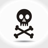 Black skull with crossed bones Royalty Free Stock Image