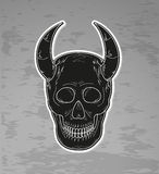 Black skull with horns Stock Image
