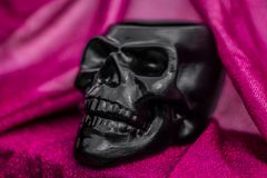 Black skull with pink background royalty free stock photos