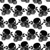 Black skull and rose seamless isolated pattern Stock Images