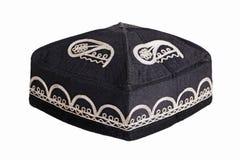 Black skullcap on a white background. Black textile skullcap on a white background Stock Image