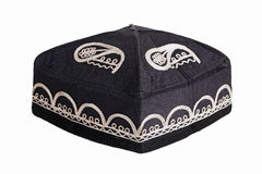 Black skullcap on a white background Stock Image