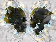 Black skulls abstract 3D Illustration. On gray background Stock Illustration