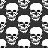 Black skulls print. Skull pattern. Hand drawn swatch for textile, fabric, wrapping. Vector art Stock Image