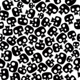 Black skulls seamless pattern. Many skulls, graphic stylized black silhouettes. Black and white. Vector background vector illustration