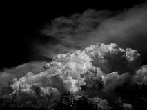 Black sky with amazing clouds background. Shape independent of the Skies, Elements of nature, Beautiful sky with white clouds Stock Photography