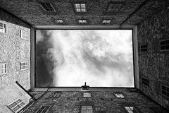 Black, Sky, Black And White, Wall Stock Image