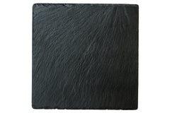 Black slate. Black stone slate isolated on white Royalty Free Stock Photos
