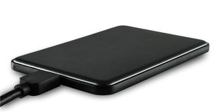 Black slim external harddisk Stock Photos