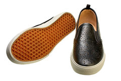 Black slip-on casual shoes Royalty Free Stock Photo