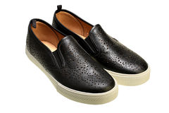 Black slip-on casual shoes Stock Images