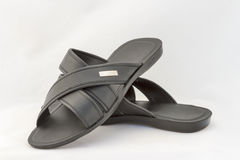 Black Slippers on White Stock Photo