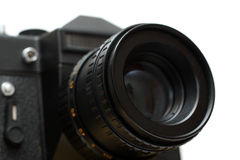 Black slr camera with lens close-up Royalty Free Stock Images