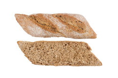 Black small bread cut in half isolated on white Stock Photos