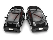 Black small ecomonic electric cars side by side Royalty Free Stock Images