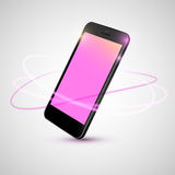 Black smart phone on angle. Black smart phone spinning on angle Royalty Free Stock Images