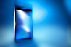 Black smart phone on blue backgroundt, template Stock Images