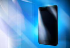 Black smart phone on blue backgroundt, template Royalty Free Stock Photography