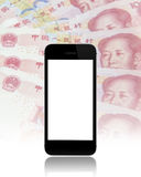 Black smart phone on china one hundred yuan background Stock Images