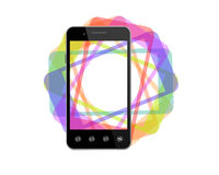 Black smart-phone with colored shadows Royalty Free Stock Photo