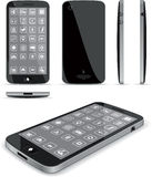 Black Smart Phone 3D and Conventional Views Stock Photo