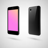 Black smart phone. The front and the back of black phone Royalty Free Stock Photo
