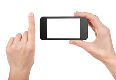 Black smart phone in hand isolated Royalty Free Stock Photo