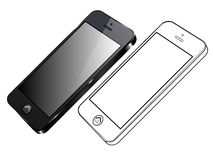 Black Smart Phone Vector. Right side view and out line royalty free illustration