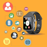 A black smart watch with time Royalty Free Stock Images