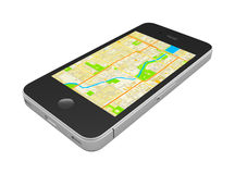 Black smartphone. With an abstract GPS map on screen, isolated on white background Stock Photos