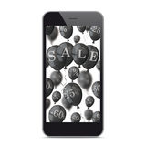 Black Smartphone Black Balloons Sale Stock Images