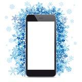 Black Smartphone Blue Snowflakes Stock Photo