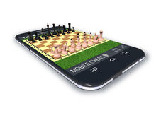 Black smartphone with chess game software application. Black smartphone with chess software application is on white background Stock Photos
