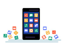 Black Smartphone with cloud of application icons and Apps icons flying around them, isolated on White background Stock Photo