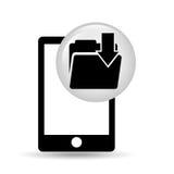 Black smartphone device file folder download Royalty Free Stock Images