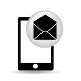 Black smartphone device open envelope email. Vector illustration eps 10 Stock Photos