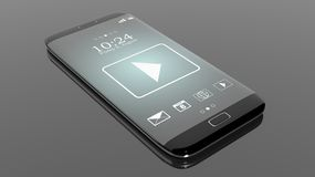 Black smartphone edge with Media Player on screen Royalty Free Stock Photos