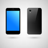 Black smartphone. The front and the back of black phone Royalty Free Stock Photography
