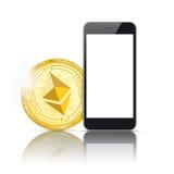 Black Smartphone Golden Ethereum Mirror Mockup Stock Photos